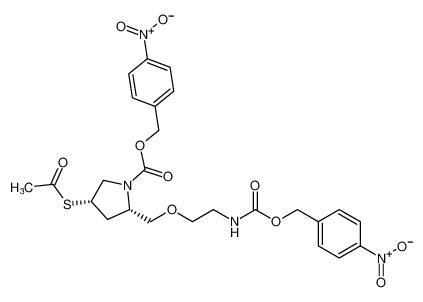 1-Pyrrolidinecarboxylic acid,4-(acetylthio)-2-[[2-[[[(4-nitrophenyl)methoxy]carbonyl]amino]ethoxy]methyl]-, (4-nitrophenyl)methyl ester, (2S-cis)-