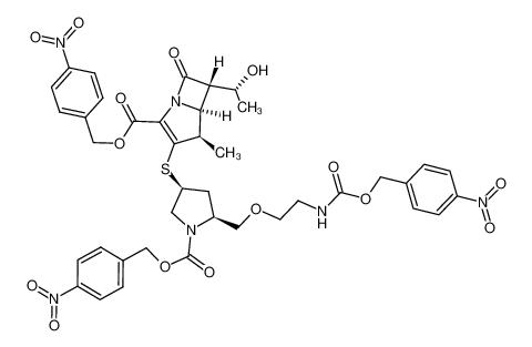 (4R,5S,6S)-6-((R)-1-Hydroxy-ethyl)-4-methyl-3-{(3S,5S)-1-(4-nitro-benzyloxycarbonyl)-5-[2-(4-nitro-benzyloxycarbonylamino)-ethoxymethyl]-pyrrolidin-3-ylsulfanyl}-7-oxo-1-aza-bicyclo[3.2.0]hept-2-ene-2-carboxylic acid 4-nitro-benzyl ester
