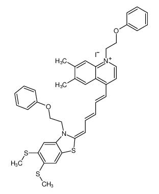 4-((1E,3E,5E)-5-(5,6-bis(methylthio)-3-(2-phenoxyethyl)benzo[d]thiazol-2(3H)-ylidene)penta-1,3-dien-1-yl)-6,7-dimethyl-1-(2-phenoxyethyl)quinolin-1-ium iodide