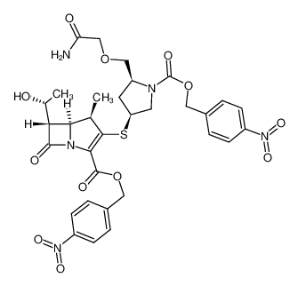 (4R,5S,6S)-3-[(3S,5S)-5-Carbamoylmethoxymethyl-1-(4-nitro-benzyloxycarbonyl)-pyrrolidin-3-ylsulfanyl]-6-((R)-1-hydroxy-ethyl)-4-methyl-7-oxo-1-aza-bicyclo[3.2.0]hept-2-ene-2-carboxylic acid 4-nitro-benzyl ester