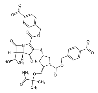 (4R,5S,6S)-3-[(3S,5S)-5-(1-Carbamoyl-1-methyl-ethoxymethyl)-1-(4-nitro-benzyloxycarbonyl)-pyrrolidin-3-ylsulfanyl]-6-((R)-1-hydroxy-ethyl)-4-methyl-7-oxo-1-aza-bicyclo[3.2.0]hept-2-ene-2-carboxylic acid 4-nitro-benzyl ester